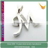 platinum plating silver charms of letter M