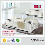contemporary multifunction high gloss solid wood frame marble center table