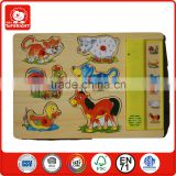 FSC certificate factory produce kids toys wooden animal sound puzzles knob voice small educational play music puzzles