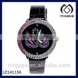 Black Wrist Watch Nice Design Purple Rhinestone Swan Watch