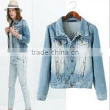 winter ladies fancy jeans short jacket slimm coat vintage style                                                                         Quality Choice