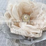Wedding Hair Clip Flower,Champange And Gray Bridal Hair Flower,CHiffon Burlap Fabric Flower