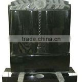 Chinese granite black headstone rose carved