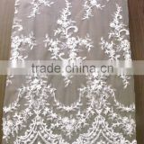 embroidery fabric lace/100%polyester high quality/tulle mesh floral lace for wedding dress