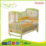 WBC-40A convenient do solid wood swing baby bed swinging cots with green paint
