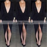 Sexy long-sleeved deep V nightclubs open fork dress,sexy free prom dress, hot girl sexy club dress