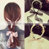 New Design Simulated Pearls Wave Bands Beautiful Lace Bows Hair Bands Headbands for Girls Headwear Hair Accessories for Women