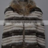 women fashion knitted real rabbit fur coat with raccoon trimming LK16F094