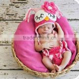 Newborn Baby Girl Sleepy Crochet OWL Hot Pink n PINK Diaper Cover -n- Beanie Hat Set -- Great Photo Prop                                                                         Quality Choice