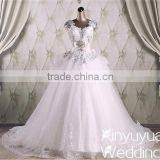 Xinyuyuan Ball gown Sexy real sample crystal beads for wedding gown long trail wedding dress from china CYW-016