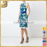 Superior wholesale ladies'fashion women print belt bodycon midi dress                                                                         Quality Choice