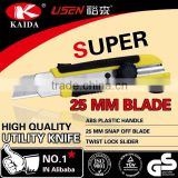 Plastic with rubber grip handle 25mm Blade Utility Knife Screw lock carpet cutter safety cutter 2 style