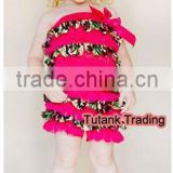 Camouflage Hot Pink Layer Chiffon Wholesale Romper with Hot Pink Bow GB004