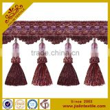 Fringes wholesalers rayon material acrylic bead tassel fringe for curtain and home decor