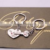 >>>2016 Hot Sale Zinc Alloy Silver Plated Lovers Gift Couple Heart Keychain Fashion Keyring Creative Key Chain/