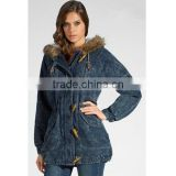 Washed jeans hoody jacket with fur