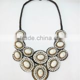 White Cream Stone, Natural stones Wax cotton thread with mixed natural stone, Stone necklace WT52