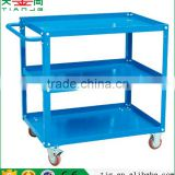 TJG high quality Noiseless 3 Tiers With Brake Wheel Platform Cart Metal Hand Platform Truck