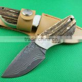OEM Damascus Steel Hunting Knife Camping Accessory with Antler + Brass Handle UDTEK01307