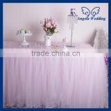 SK005M New arrival puffy banquet wedding 6ft rectangle tutu Custom made ruffled light pink tulle table skirt