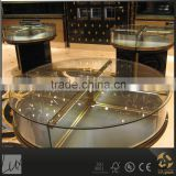 Black wood glass top center round retail display table