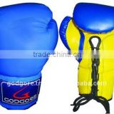 Training and Competition Hand Crafted Mould Plain Blue and Yellow Artificial Leather Sport Boxing Gloves