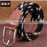 Customized Elastic Navy Woven Rope Braid Belt in stock