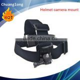 Adjustable action camera head mount with standard camera adapter