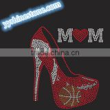 High heel Heat Transfer Custom Designs Basketball mom Sport Transfers T-shirt Rhinestones