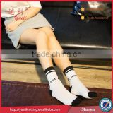 Woman sock football boots cotton black and white tube sock