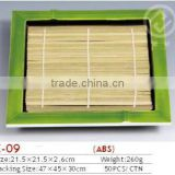 E-09 green plastic square tray with bamboo placemat
