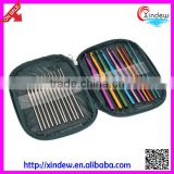 High quality aluminum crochet hook set and iron crochet hook set in leather case