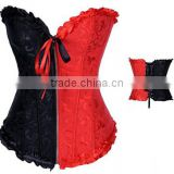 Women's Satin Lace up Overbust Corset G-string Bustier Plus Size Corset For Wholesale
