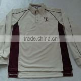 Mens custom100% polyester cooldry embroidered cream with maroon panels pipings cut and sewn long sleeves cricket shirt