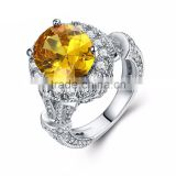 Free shipping wholesale AAA yellow zircon brass/genuine 925 sterling silver jewelry luxury rings for ladies