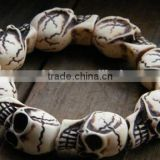 white Turquoise skull beads bracelets mens skull charm bracelets for 2016 Halloween Day gifts