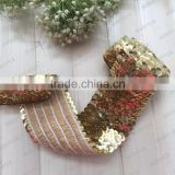 stretch sequin trim coromose headband cute sequin bow beaded 3 row sequin fabric braided lace belt