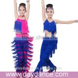 Professional Girls Fringed Latin Clothes&Pants Kids Ballroom Tango Salsa Dance Costumes