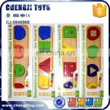 Brain developmental toy various geometries cognition board game wooden geometric shape blocks