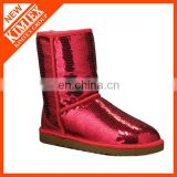 sequin snow boots with artificial wool inside