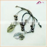 Spring Boho New Design Wooden Bead Leather Rope Bangle Bracelets                                                                         Quality Choice
