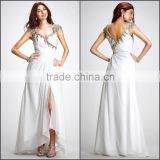 New Arrive Hot Sale Beautiful Pure Color Chiffon Prom Dress with Beading and Cap Sleeve High Quality Sleeveless Prom Dress