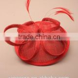 New Design Red Sinamay Base Fascinator Hat For Wedding Party