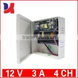 <4>Switching cctv camera 12v5amp 9 outputs power supply box with 12V 7AH battery charger