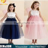 2016 Summer new arrival sleeveless girl lace chiffon flower dress kids princess wedding party dress