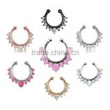 316L Surgical Steel Zircon fake septum / For Women Body Piercing Clip Hoop fake nose ring