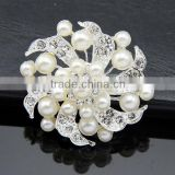 Fashion Jewelry Imitation Pearls Floral and Silver-Tone Crystal Brooch Pin