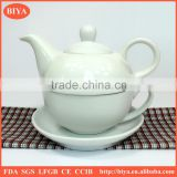 arabic coffee pot Customized plain white ceramic porcelain tea pot & kettle for one cup and saucer