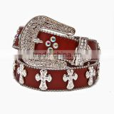 Wholesale Women's Fashion Trendy Rhinestone Cross Brown Leather Belt