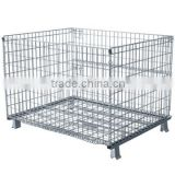 2016 hot selling Foldable Orange Steel Wire Mesh Pallet Container With Wheels For Sale JS-WC01